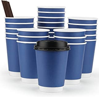 Eupako 12 oz Disposable Coffee Cups with Lids and Straws, Paper Coffee Cups, to Go Coffee Cup, Insulated Travel Cup, Double Wall Cups (Blue, 50 Set)