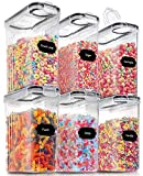 Large Dry Food Storage Containers with Lids, PRAKI 6PCS Airtight Cereal Storage Containers, Leak-proof Canister Set for Sugar, Flour, Snack, Baking Supplies with 20 Lables & Marker (4L Black)