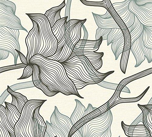 Lars Contzen Vliestapete Artist Edition No. 1 Tapete Dried Flowers Designertapete 10,05 m x 0,53 m grau schwarz weiß Made in Germany 340891 34089-1