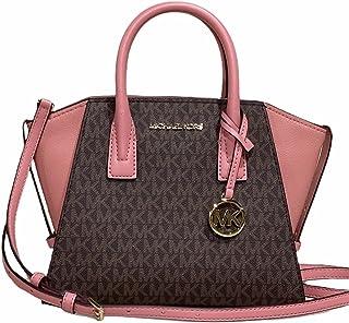 Michael Kors Avril Bolso pequeño con cremallera superior Sunset Rose Pink Brown MK Signature Print Logo