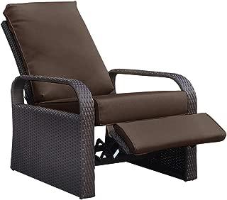 Outdoor Wicker Recliner, Patio Recliner Adjustable Chair with 5.11