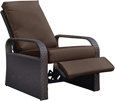 "BABYLON Outdoor Wicker Recliner, Patio Recliner Adjustable Chair with 5.11"" Cushions and Ottoman, UV/Rust/Weather Resista"