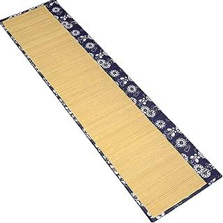 Tea Talent Handmade Natural Bamboo Sticks Tablemat Decor Kungfu Tea Set Slat Mat Placemat Tea Table Runner 12 By 47-inch, Blue and White Linen