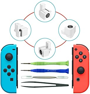 Joy-con Replacement Latches for Nintendo Switch, Yoelike Metal Lock Buckles Repair Tools Kit for Nintendo Switch NS Joy Con with Screwdrivers (Silver)