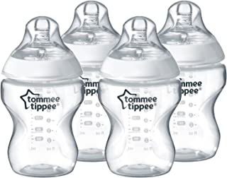 Tommee Tippee Closer to Nature Clear Baby Bottles, Clear, 260ml, 4 Pack