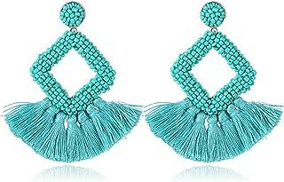 Handmade Beaded Fringe Dangle Earrings Statement Beaded Tassel Bohemian Hoop Earrings for Women