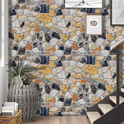 """Timeet Stone Peel and Stick Wallpaper 17.7""""X 118"""" Decoration Stone Wallpaper Removable Wallpaper Self-Adhesive Wall Paper for Home Decor TV Wall Easy to Peel and Stick PVC Roll"""