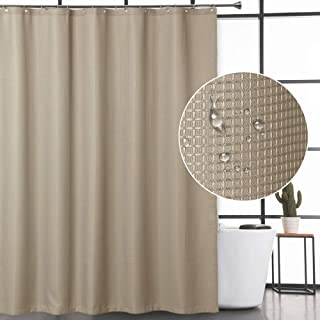 CAROMIO Waffle Fabric Shower Curtain Water Repellent And Mildew Resistant Bathroom With Rustproof