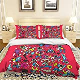 3D Red Spaceship Astronaut Rocket Doodle Duvet Cover Sets Pillowcases 3 pcs, Bedroom Decor Quilt Cover Sets, Comforter Cover,California King Queen Full Twin Size 18 SF (Full)