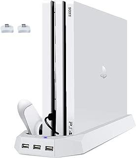 ホワイト PS4 Proスタンド PS4プロに対応 プレイステーション4 ps4pro 縦置きスタンド コントローラー2台充電 USBハブ3ポート 冷却ファン2基付き controller 充電スタンド PS4 Pro Stand 日本語説明書付き