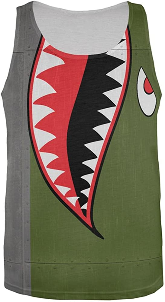 Halloween WWII Flying Tiger Fighter Shark Nose Art All Over Mens Tank Top