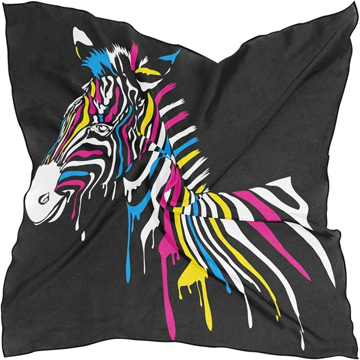 XLING Fashion Square Scarf Colorful Abstract Animal Zebra Lightweight Sunscreen Scarves Muffler Hair Wrap Headscarf Neckerchief for Women Men