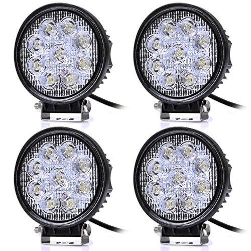 Leetop 4X 27W 12V 24V LED Faro de Trabajo, Foco para Tractor Carro Coche, Impermeable y Brillante