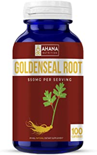 Goldenseal Capsules by Ahana Nutrition – Goldenseal Root Supplement to Help Support The Digestive System & The Immune System (550mg - 100 Capsules)