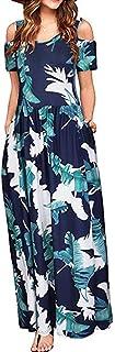 Women Cold Shoulder Floral Print Bohemian Maxi Long Dress Pocket Dress