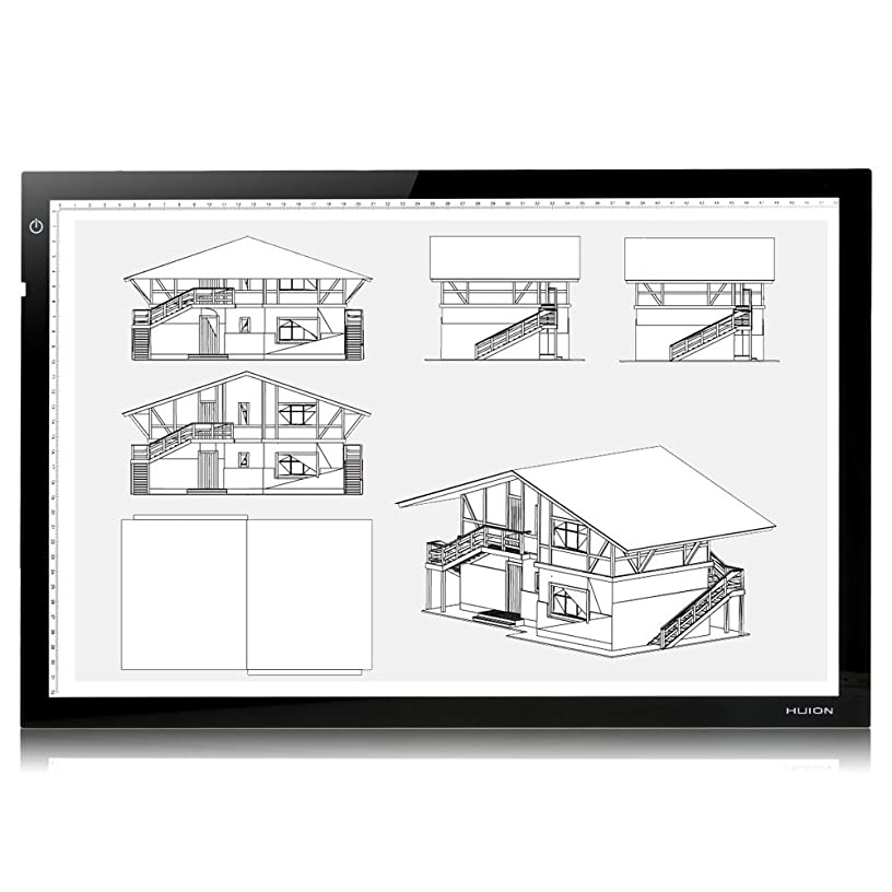 """Huion 26.8"""" (Diagonal Length) Ultra Slim Adjustable Brightness LED Tracing Pad Table Light Box with Kenting Cleaning Cloth A2"""