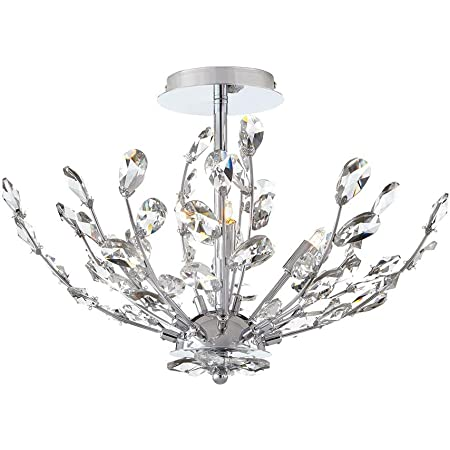 Home Decorators Collection Chandelier 20 In 4 Light Chrome Semi Flushmount With Crystal Glass Branches