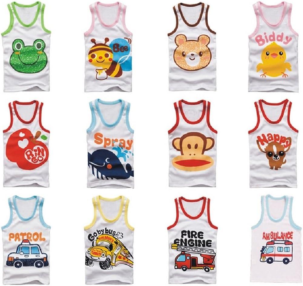 Boy/Girl 100% Cotton 5 Pack Cartoon Japanese Vest Tank Sleeveless Top Set