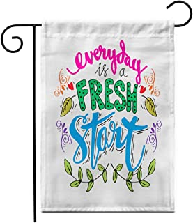 """Adowyee 12""""x 18"""" Garden Flag Awake Every Day is Fresh Start Inspirational Brush Creative Outdoor Double Sided Decorative House Yard Flags"""