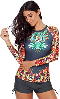 Womens Raglan Long Sleeve Rash Guard Sun Protection Floral Print Quick-Drying Wetsuit Swimsuit Two Piece Surfing Swimwear