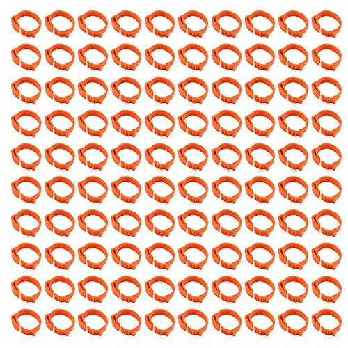 Hwtcjx Bague Pigeon, Bague pour Poule, 100 Pieces Jambe dAnneau dOiseau, Fabriqué en Plastique, Durable, Conception à Boucle, avec numéro 1-100, pour Poulet, Canard, oie (D: 1,8-2,6cm, Orange)