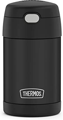 THERMOS FUNTAINER 16 Ounce Stainless Steel Vacuum Insulated Food Jar with Folding Spoon, Black Matte