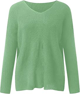 Sweater V Neck Blouse Women for Long Sleeve Knitted Sweater