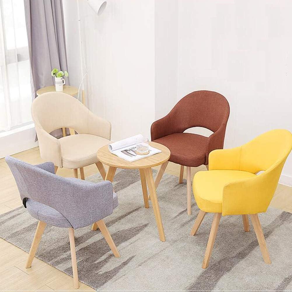 WYYY chaises Chaise De Salle À Manger Chaise De Table Pieds En Bois Design Rétro Fauteuil Chaises De Canapé Rembourrés Assemblé Durable fort (Color : Yellow) Brown
