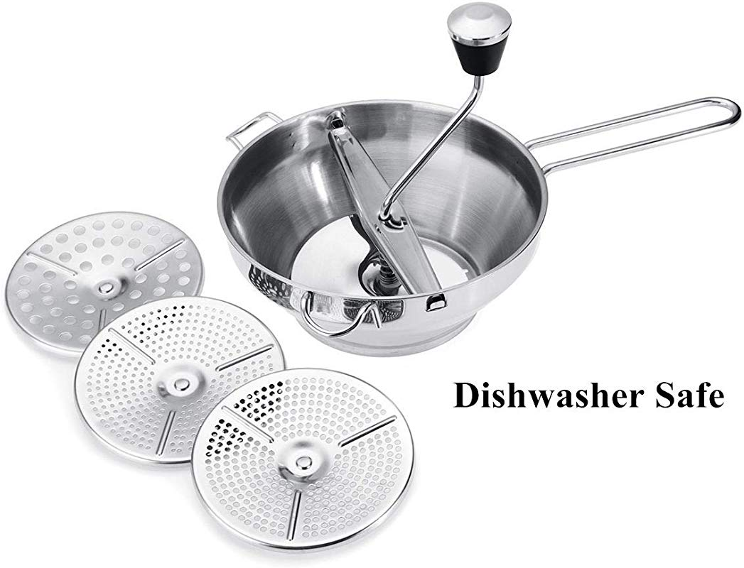 Stainless Steel Food Mill Mouli Ricer With 3 Milling Discs Dishwasher Safe