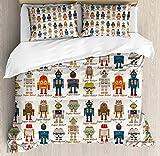 Juego de funda nórdica robot, varios juegos de super robot diferentes en máquina futurista de fantasía de estilo de dibujos animados, juego de cama decorativo de 3 piezas con 2 fundas de almohada, cre