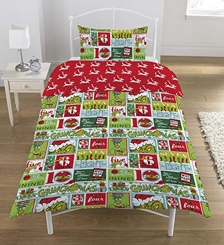 The Grinch 12 DAYS Duvet Set, Polyester-Cotton, Multi-Colour, Single