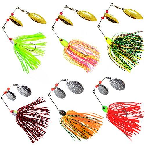 Fishing Spinner Baits Kit Hard Metal Spinnerbait Jig Lure Kit for Bass Pike (6pcs Spinner Baits)