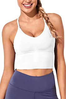 Women Sports Bras Longline Fitness Crop Tops Tank Gym Camisole Yoga Workout Running Shirts