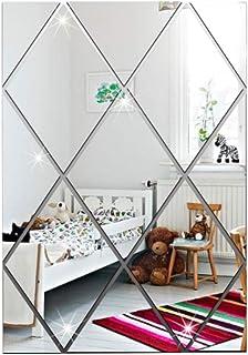 bigbigfamily Adesivo de parede em espelho 3D, 17 unidades de configuração de espelho em forma de diamante Faça você mesmo ...
