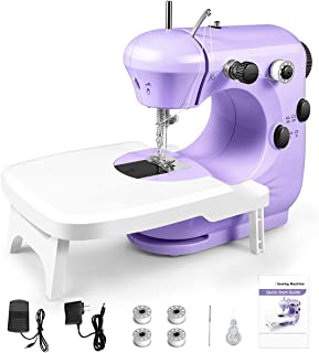 Sewing Machine, Mini Sewing Machine for Beginners, 2-Speed Portable Sewing Machine with Extension Table, Light, Easy to Us...