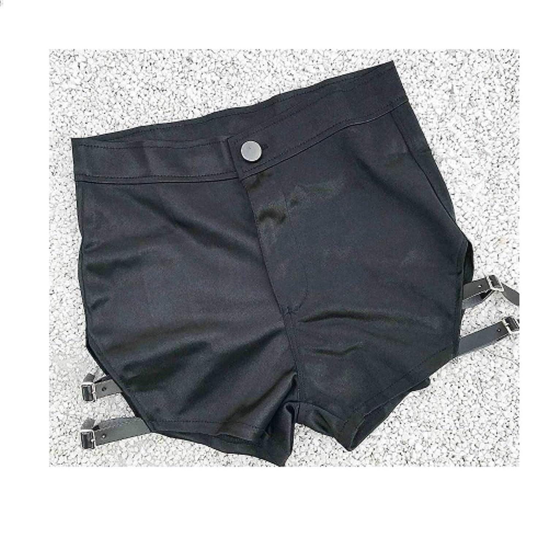 Jieming 新しい夏の女性の黒のショートパンツのホットパンツウルトラショートナイトクラブの女性のセクシーな (Color : Black, Size : L)