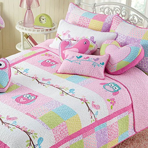 Cozy Line Pink Owl 2 Pcs Quilt Set for Kids/Girls Bedding (Owl,...