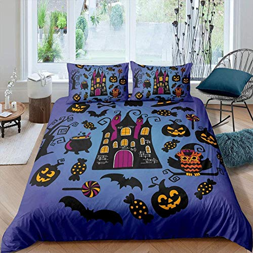 Matasuer Duvet Cover Brushed Microfibre - Creative Blue Black Halloween Pumpkin Castle - King (220 X 230 Cm) 2 Pillowcase 50 X 75 Cm Soft Easy Care Anti-Allergic Bedding Set Gift For Teens Girls
