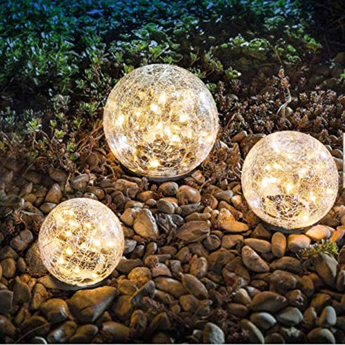 Bannad Garden Solar Lights, Cracked Glass Ball Waterproof Warm White LED for Outdoor Pathway Walkway Patio Yard Lawn