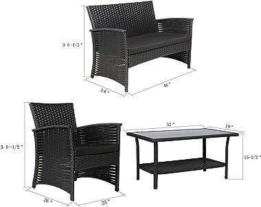 æ— Rattan Sofa, Outdoor Patio Rattan Sectional Sofa and Coffee Table Patio Furniture Set