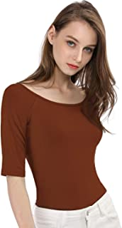 Allegra K Women's Half Sleeves Scoop Neck Fitted Layering Top Soft T-Shirt
