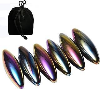 NICO SEE WONDER 2.4Inch 61mm Snake Eggs Magnets, 6 Pcs Rainbow Hematite Oval Magnetic Balls, Magnetic Rattlesnake Egg, Mag...