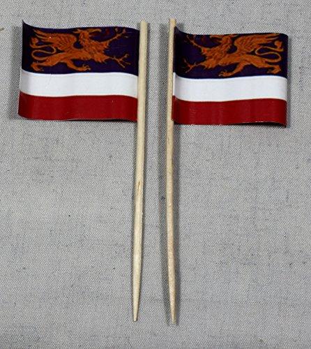 Buddel-Bini Party-Picker Flagge Rostock Papierfähnchen in Profiqualität 50 Stück 8 cm Offsetdruck Riesenauswahl aus eigener Herstellung