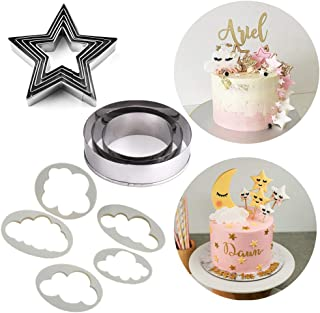 SAKOLLA Twinkle Twinkle Little Star Cake Decoration - Stars/Cloud/Circle Moon Cookie Cutters Kit for Baby Shower Birthday Wedding Party - DIY Cupcake Decoration, Set of 13