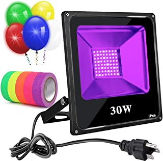 Black Light 30W Led Blacklight with 5 Led Balloons UV Flood Light IP66 Waterproof Ultraviolet Light with 5 Fluorescent Neon Glow Tapes for Dance Party Body Paint Disco Night Club Stage Glow in Dark