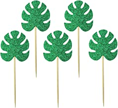 BESTOMZ 15pcs Tropical Leaves Cake Topper Luau Hawaiian Cupcake Topper Cake Toothpicks for Tropical Themed Birthday Party Decorations
