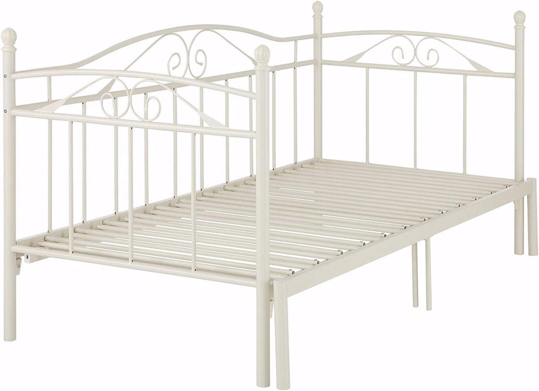 Loft24 Florenz Metallbett 90x200 cm Tagesbett ausziehbar auf 180x200 cm Ausziehbett Kinderbett Bettgestell Metall Gstebett Couchbett (wei)