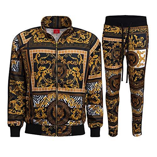G-Style USA Men's Luxury Track Suit ST552 - Black - 2X-Large - V-D42