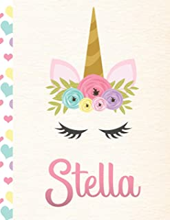 Stella: Personalized Unicorn Sketchbook For Girls With Pink Name - 8.5x11 110 Pages. Doodle, Sketch, Create!