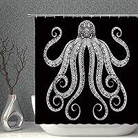 Amxxy タコシャワーカーテン海動物触手黒白漫画子供装飾生地浴室カーテン72×72インチ防水ポリエステルフック付き